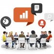 People in Meeting with Speech Bubbles — Stock Photo #71694069