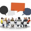 People in Meeting with Speech Bubbles — Stock Photo #71693311