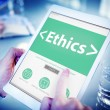 Hands holding tablet with Ethics Concept — Stock Photo #71694151