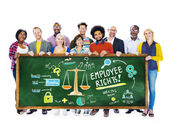 People holding banner with Employee Rights — Stock Photo