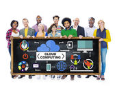 Diverse people and Cloud Computing Concept — Stock Photo