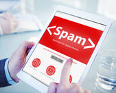 Spam virus computer tablet internet security concept — Stock Photo