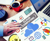 Businessman working with Cloud Computing — Stock Photo