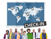 Diverse people and Check In Travel Concept — Stock Photo