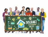 People holding banner with Insurance Concept — Stock Photo