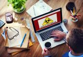 Man working on laptop with Ebola Outbreak — Stock Photo
