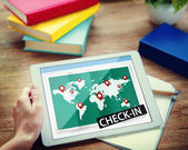 Hands holding tablet with Check In Concept — Stock Photo