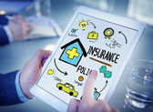 Hands holding tablet with Insurance — Stock Photo