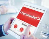 Hands holding tablet with Commuter — Stock Photo