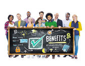 People holding banner with Benefits — Stock Photo