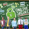 Students near chalkboard with Online Security — Stock Photo #72023103
