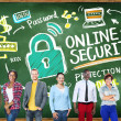 Students near chalkboard with Online Security — Stock Photo #72023977