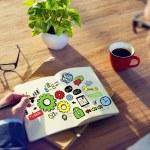 Businessman writing Teamwork Concept — Stock Photo #72025273