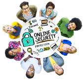 People holding placard with Online Security — Stock Photo