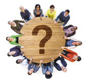 Diverse people and Question Mark — Stock Photo
