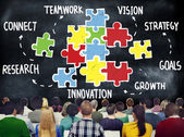 People and Teamwork Puzzle Concept — Stock Photo