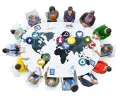 Diverse people and Global Communication — Stock Photo
