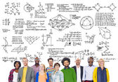 Diverse people and Mathematical Symbols — Stock Photo