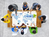 Diverse people discussing about E-Business — Stock Photo