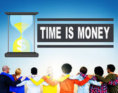 Diverse people and Time is Money — Stock Photo