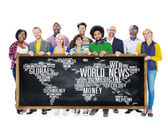 People holding banner with World News — Stock Photo