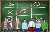Diverse people and Tic Tac Toe Game — Stok fotoğraf
