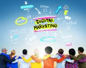 Diverse people and Digital Marketing — Stock Photo