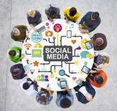 Diverse people with Social Media Concept — Stock Photo