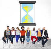 Diverse people and Time Sand Glass — Stock Photo