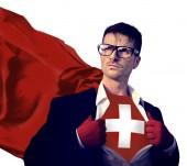 Supereroe dell'uomo d'affari con la bandiera Svizzera — Foto Stock