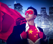 Superhero Businessman Chinese — Stock Photo