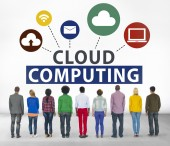 Diverse people and Cloud Computing — Stock Photo
