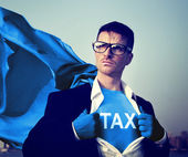 Strong Superhero Businessman TAX — Stock Photo