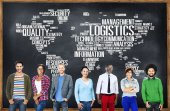 Diverse people and Logistics Management — Stock Photo