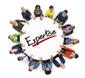 People around Expertise word — Stock Photo