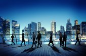 Business People in Night city — Stock Photo