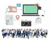 Diverse people and Technology — Stock Photo