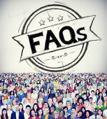 Diverse people and Faq Concept — Stock Photo