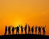 Silhouet van mensen uit het bedrijfsleven — Stockfoto