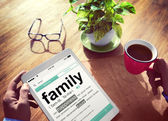 Man Reading the Definition of Family — Stock Photo