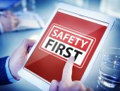 Hands Holding Digital Tablet Safety First — Stock Photo
