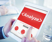Digital Online Analyze Plan Research Working Concept — Stock Photo