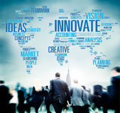Business people and Global Innovate — Stock Photo