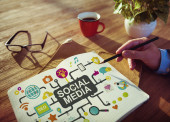 Social Media Social Networking Connection Global Concept — Stock Photo