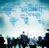 Business people and Global Connect — Stock Photo