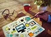 Projektowanie stron www biznesmen planowania pracy koncepcja — Zdjęcie stockowe