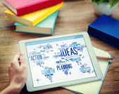 Businessman Planning Digital Tablet Creativity Ideas Concept — Stock Photo