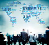 Business people and Global Environment — Stock Photo