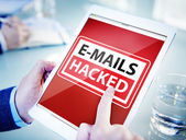 Hands Holding Digital Tablet E-Mails Hacked — Stock Photo