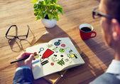 Zakenman schrijven op laptop — Stockfoto